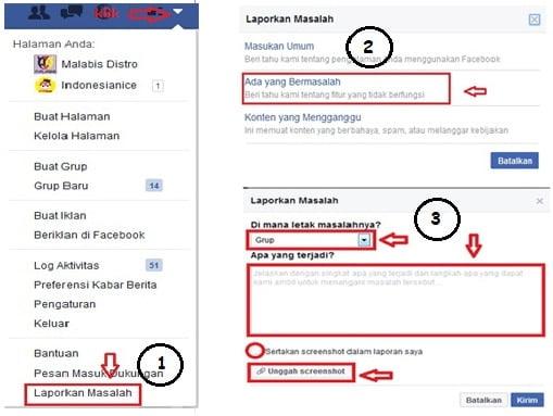 mengisi form pengaduan ke facebook