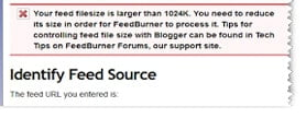 Notifikasi file feed terlalu besar