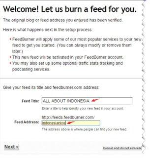 mendaftarkan website ke feedburner