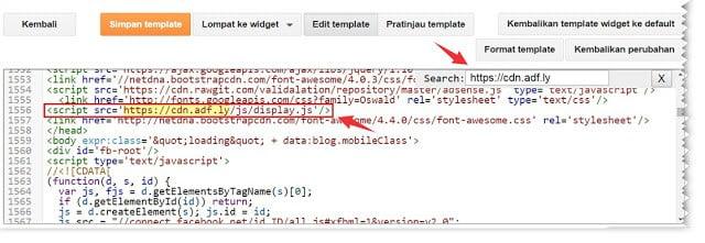 Cara mencari link iklan di template