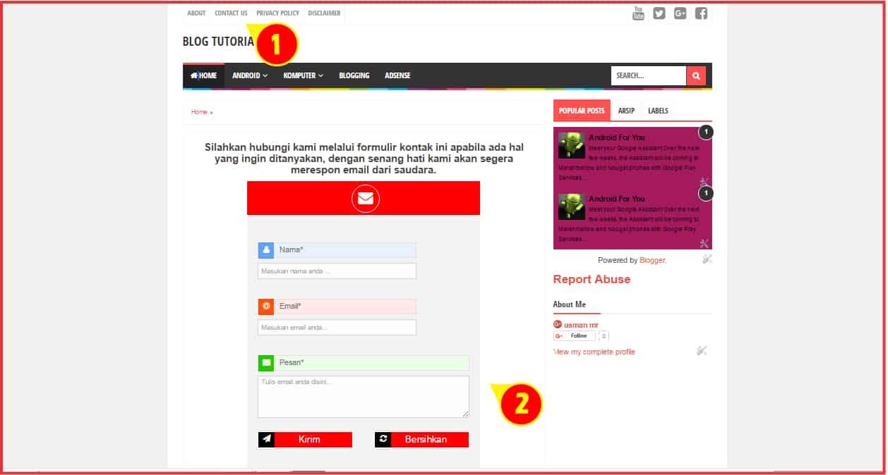 cara membuat formulir kontak blog