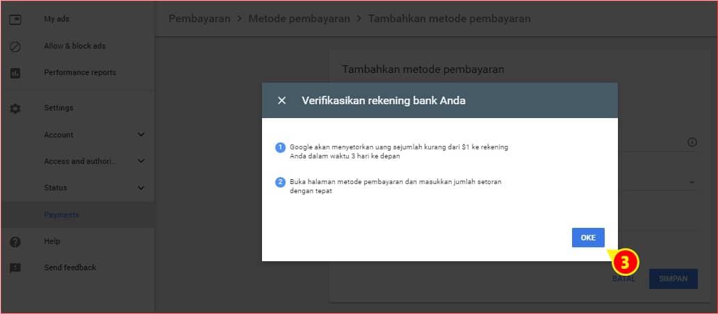 Notifikasi verifikasi rekening Pembayaran AdSense.j