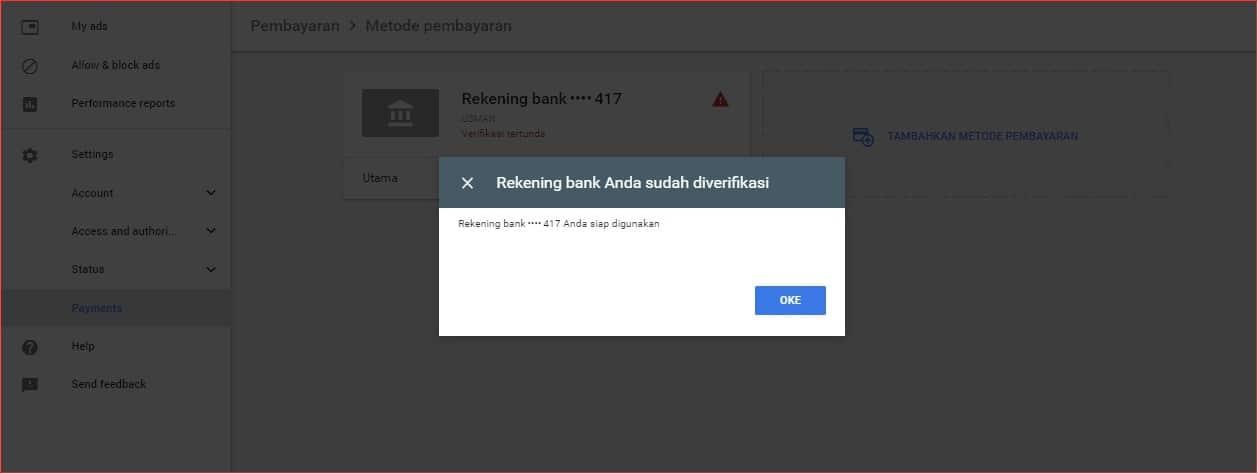 Notifikasi verifikasi rekening pembayaran AdSense.jpg