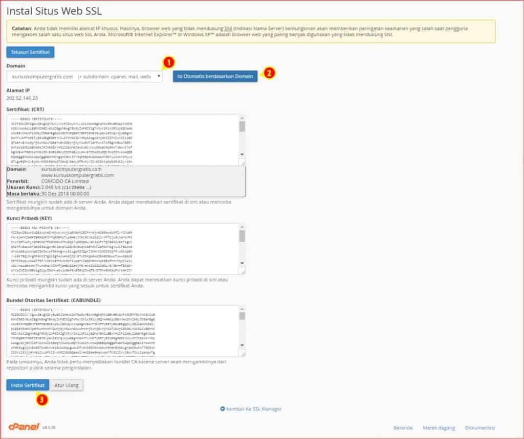 cara instal SSL Premium