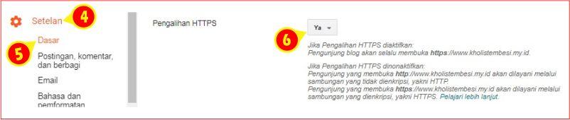 seting pengalihan HTTPS di blogspot