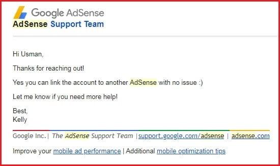 jawaban tim adsense tentang menggunakan satu rekening untuk lebih dari satu akun adsense.jpg