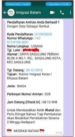 Nomor antrian pembuatan paspor di Batam yang dikirim via WhatsApp.jpg