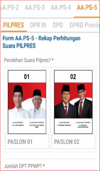 Formulir AA.PS-5 siwaslu 2019