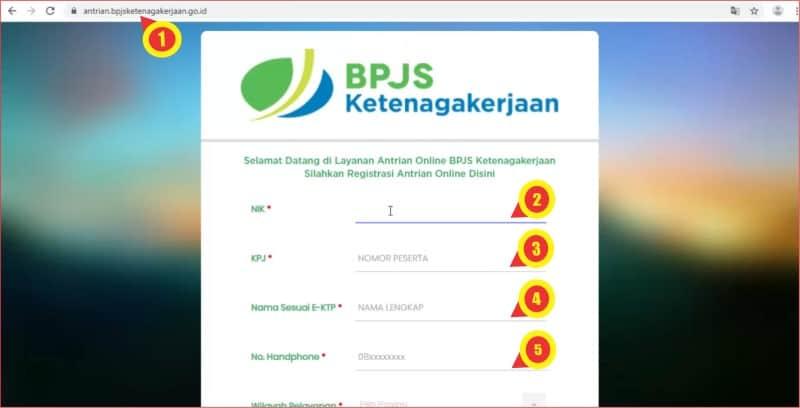 Input data peserta pada formulir antrian online BPJS Ketenagakerjaan.jpg