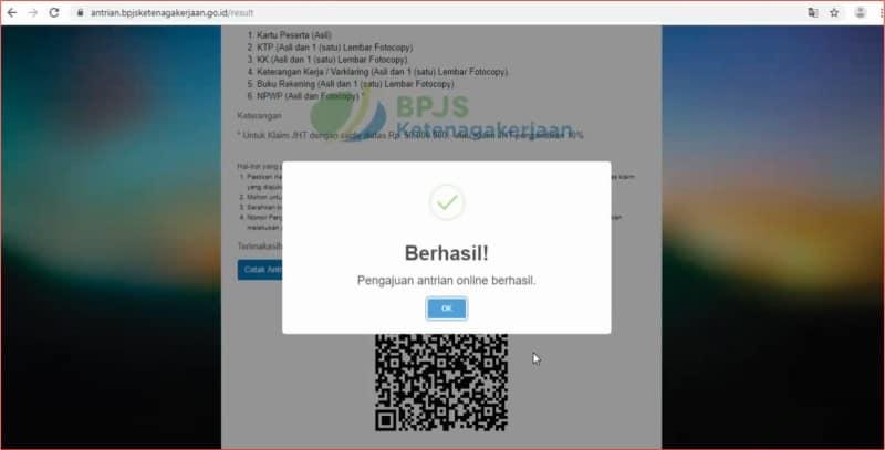 Notifikasi status permohonan antrian online klaim saldo JHT BPJS Ketenagakerjaan.jpg