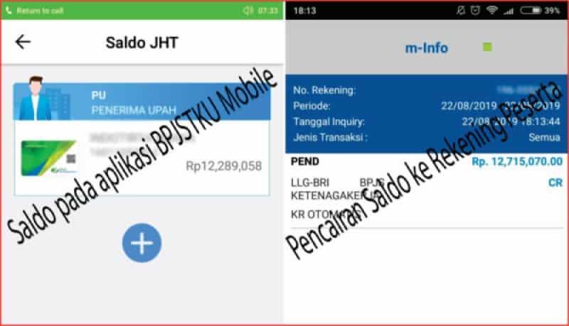 Tampilan dana JHT di aplikasi dan Pencairan yang masuk ke rekening.jpg