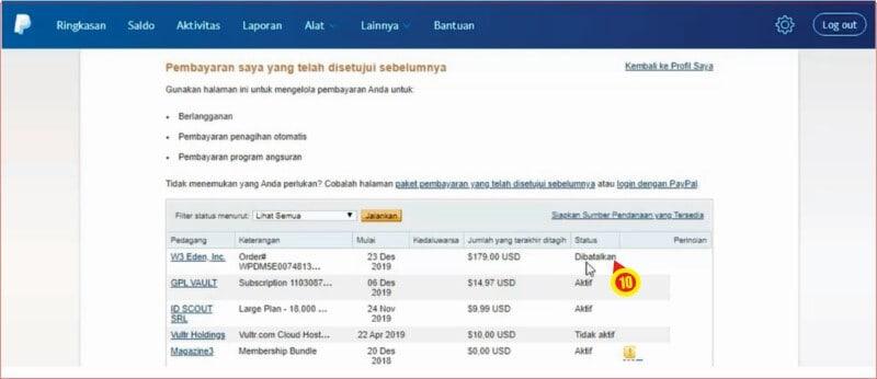 Informasi status pembayaran berlangganan