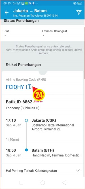 Halaman kode booking tiket pesawat bergaansi jamianan uang kembalidi aplikasi Traveloka.jpg