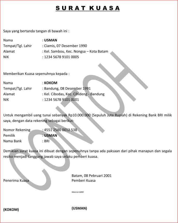 Download Contoh Surat Kuasa Untuk Mengambil Uang Atau Dokumen