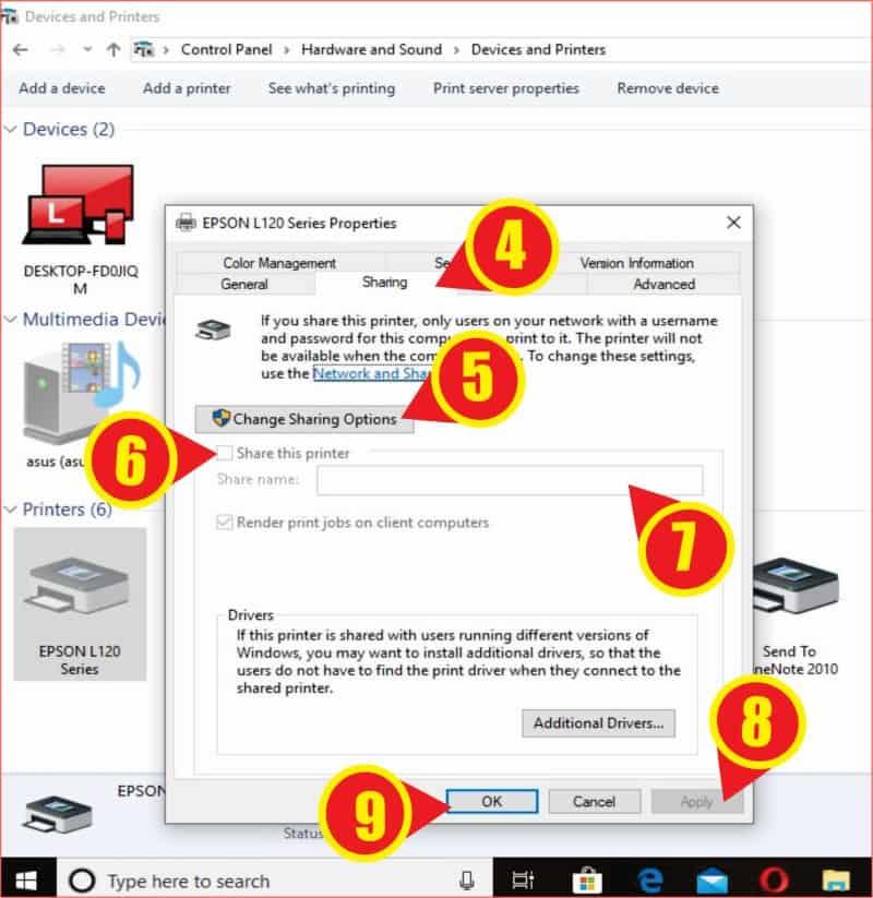Pengaturan Sharing Printer Pada server