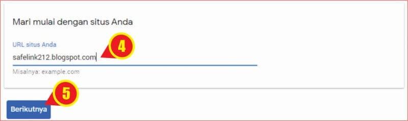 Kolom untuk mengajukan permohonan add site subdomain blogspot ke Google AdSense.jpg