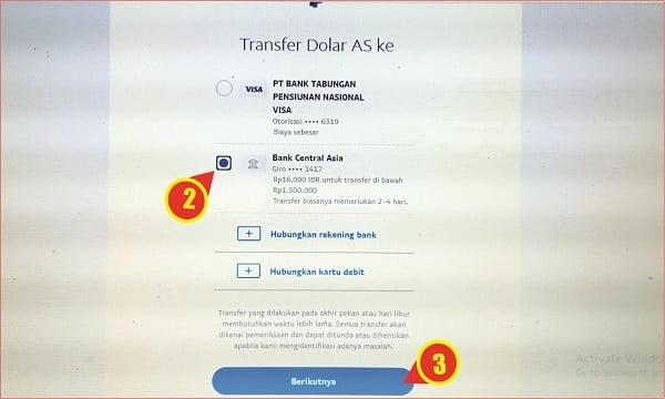 cara memilih bank tujuan transfer pada Paypal
